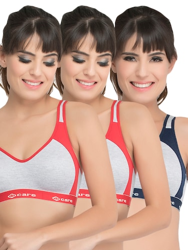 set of 3 grey solid hosery sports bra - 15082369 - Standard Image - 1