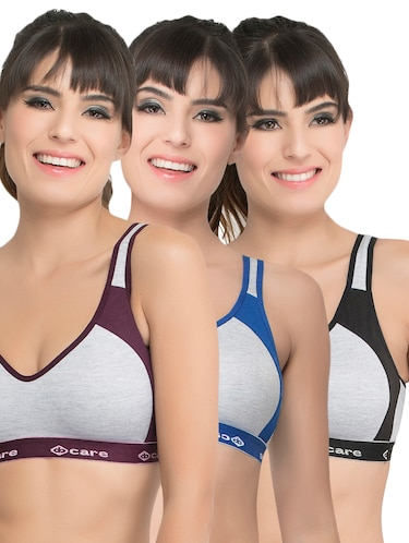 set of 3 grey solid hosery sports bra - 15082378 - Standard Image - 1