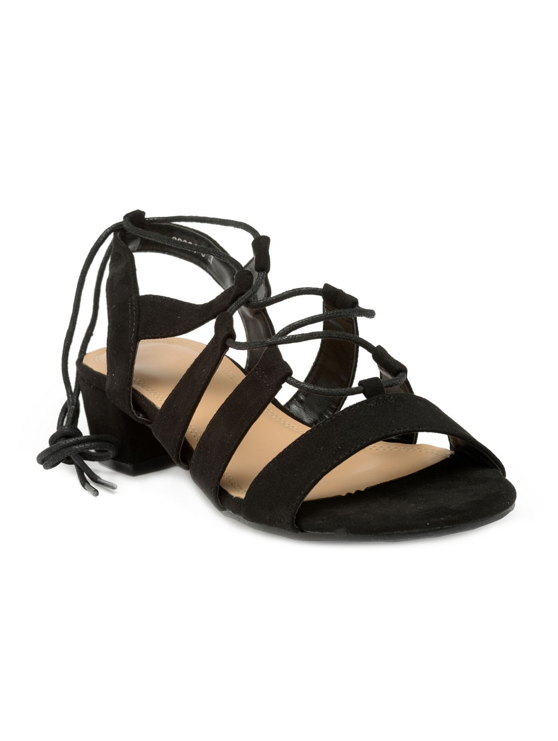 075f145e5d84 Buy Black Suede Laceup Sandals for Women from Flat N Heels for ...