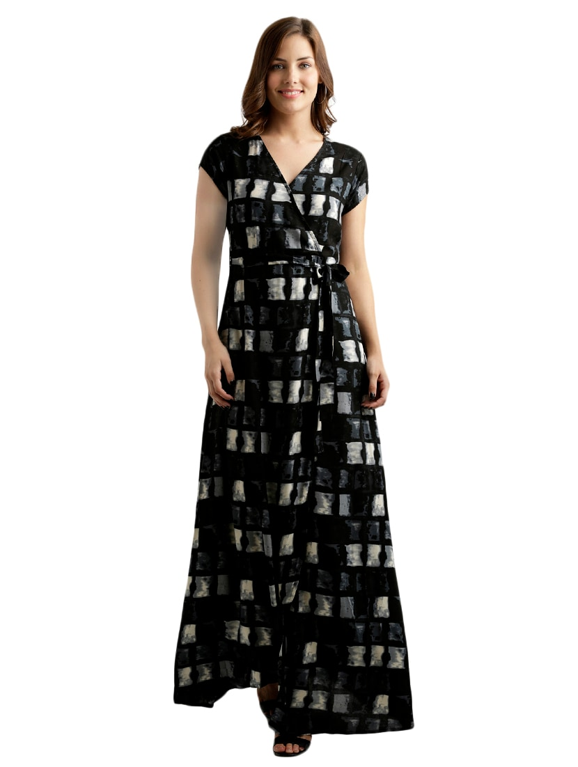 0e12c3fe0dc8 Buy Black Printed Rayon Maxi Dress by Miss Chase - Online shopping for  Dresses in India | 15085596
