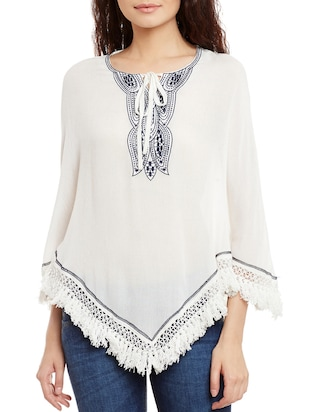 white cotton embroidered top - 15086407 - Standard Image - 1