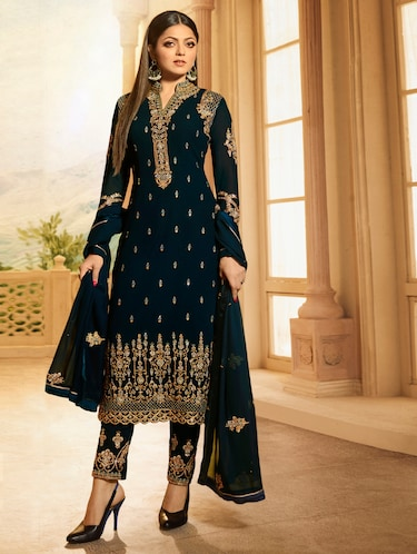 Blue georgette semi-stitched straight pant suit - 15091752 - Standard Image - 1