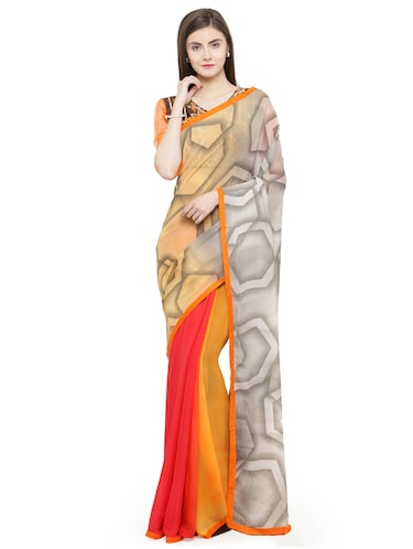 orange georgette printed saree with blouse - 15093252 - Standard Image - 1