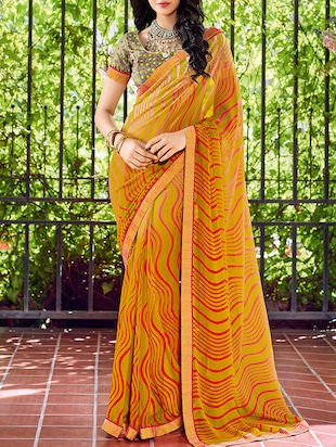 yellow georgette printed saree with blouse - 15102795 - Standard Image - 1