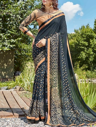 blue georgette printed saree with blouse - 15102807 - Standard Image - 1