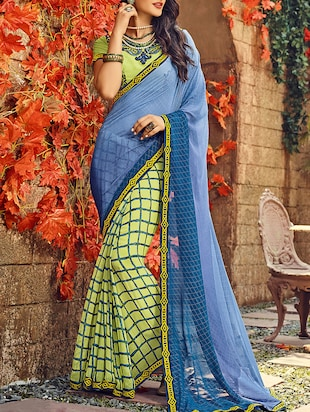 blue georgette half and half saree with blouse - 15102838 - Standard Image - 1