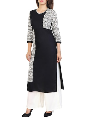 black cotton straight kurta - 15106247 - Standard Image - 1