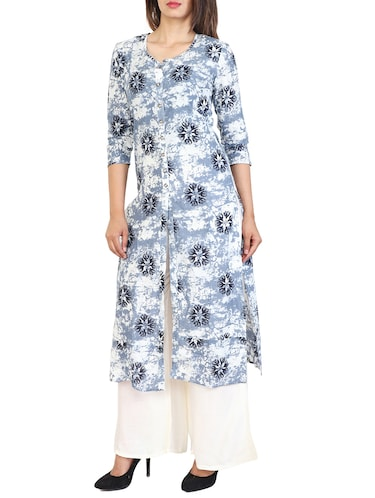 blue cotton straight kurta - 15106260 - Standard Image - 1