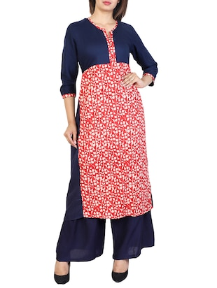 blue cotton straight kurta - 15106261 - Standard Image - 1