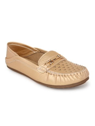 gold suede slip on loafers - 15106864 - Standard Image - 1