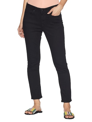 solid black denim jeans - 15107132 - Standard Image - 1