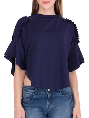 navy blue solid cape sleeved top - 15108554 - Standard Image - 1
