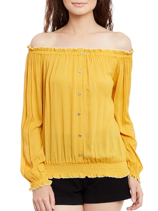 solid yellow cotton blouson top - 15108579 - Standard Image - 1