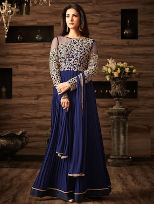 blue embroidered semi-stitched flared suit - 15109066 - Standard Image - 1