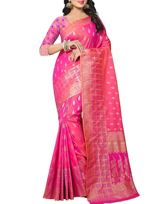 pink silk woven saree with blouse - 15110246 - Standard Image - 1