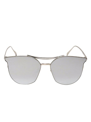 Cat-Eye Frames Round Sun-Glasses For Women Stylish Mirror - 15110853 - Standard Image - 1