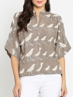 brown printed cotton top - 15111060 - Standard Image - 1