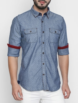 blue cotton casual shirt - 15111124 - Standard Image - 1
