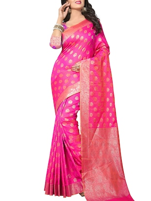 pink silk woven saree with blouse - 15111682 - Standard Image - 1