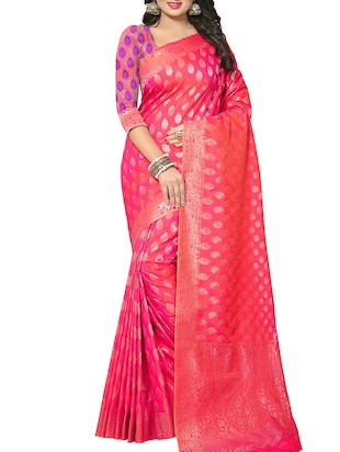 pink silk woven saree with blouse - 15112185 - Standard Image - 1