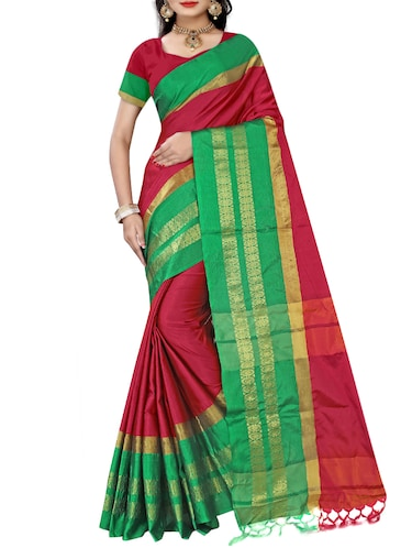 red art silk bordered saree with blouse - 15112521 - Standard Image - 1