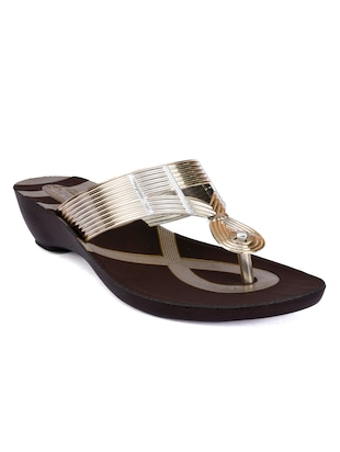 gold  faux leather wedge - 15112586 - Standard Image - 1