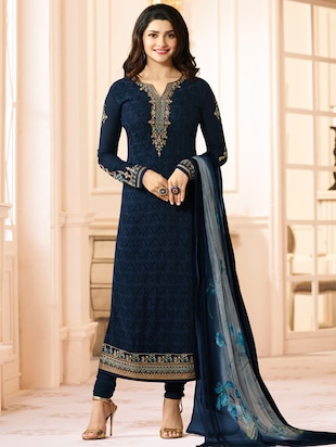 Blue embroidered semi-stitched churidaar suit - 15112652 - Standard Image - 1