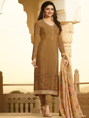 Brown embroidered semi-stitched churidaar suit - 15113228 - Standard Image - 1
