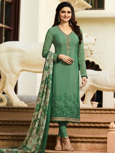 Green embroidered semi-stitched churidaar suit - 15113231 - Standard Image - 1