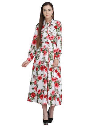 pleated floral belted maxi dress - 15113270 - Standard Image - 1