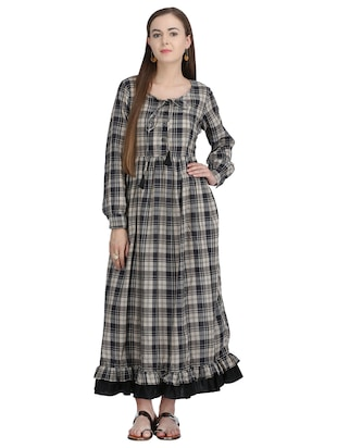tie-up detail checkered maxi dress - 15113284 - Standard Image - 1