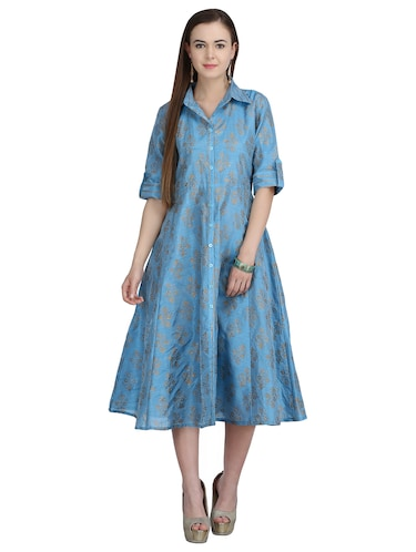 button down front flared dress - 15113287 - Standard Image - 1