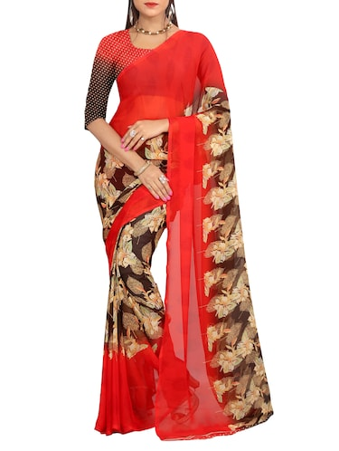 red georgette printed saree with blouse - 15113305 - Standard Image - 1