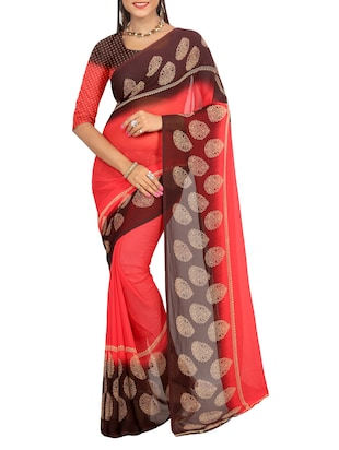red georgette bordered saree with blouse - 15113313 - Standard Image - 1