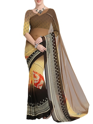 brown georgette printed saree with blouse - 15113321 - Standard Image - 1