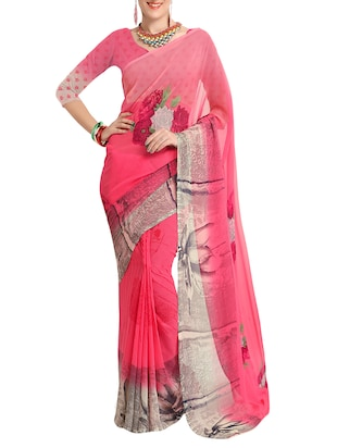 pink georgette printed saree with blouse - 15113327 - Standard Image - 1