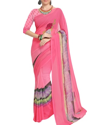 pink georgette printed saree with blouse - 15113328 - Standard Image - 1