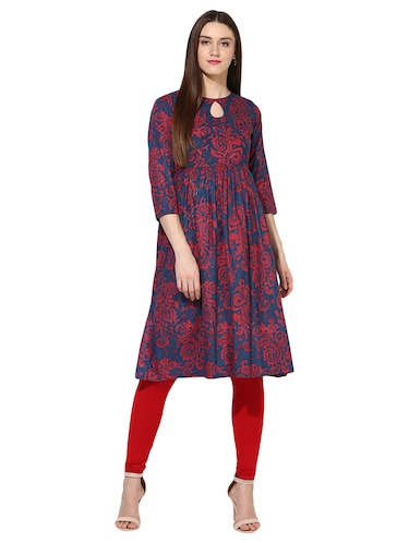 blue cotton flared kurta - 15113441 - Standard Image - 1