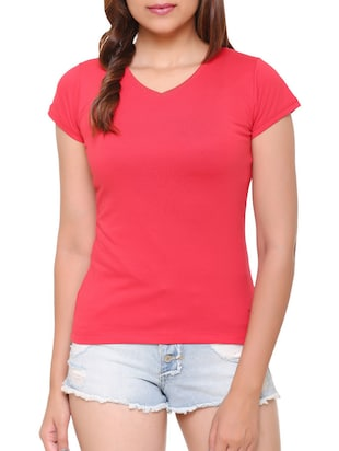 pink solid cotton tee - 15113456 - Standard Image - 1