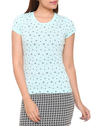 light blue printed cotton tee - 15113458 - Standard Image - 1