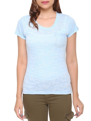 light blue printed cotton tee - 15113462 - Standard Image - 1