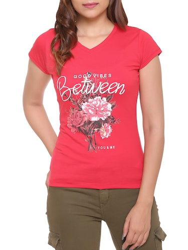 red printed cotton tee - 15113467 - Standard Image - 1