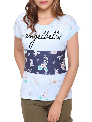 light blue printed cotton tee - 15113475 - Standard Image - 1