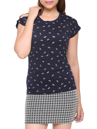 navy blue printed cotton tee - 15113483 - Standard Image - 1