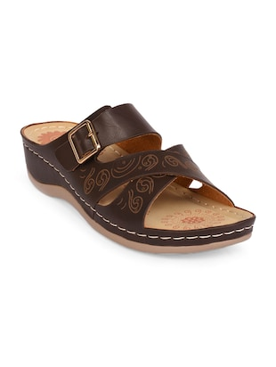 brown faux leather slippers - 15113658 - Standard Image - 1