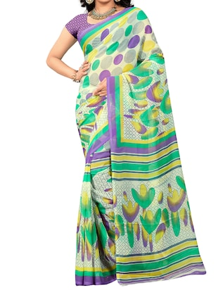 Cream  printed saree with blouse - 15113800 - Standard Image - 1
