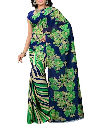 blue georgette printed saree with blouse - 15113804 - Standard Image - 1