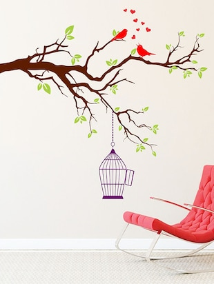 Art Two Red Singing Bird With Case Wall Sticker - 15114194 - Standard Image - 1
