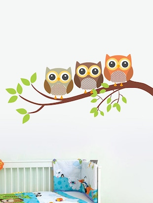Art Owl Family of 3 Wall Sticker - 15114221 - Standard Image - 1