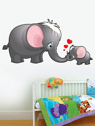 Mom and Kid Elephant Wall Sticker - 15114234 - Standard Image - 1